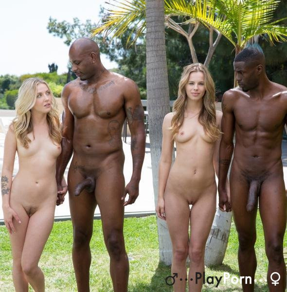 Interracial Foursome For Two Beautiful Blonde Girls - Jillian Janson Karla Kush